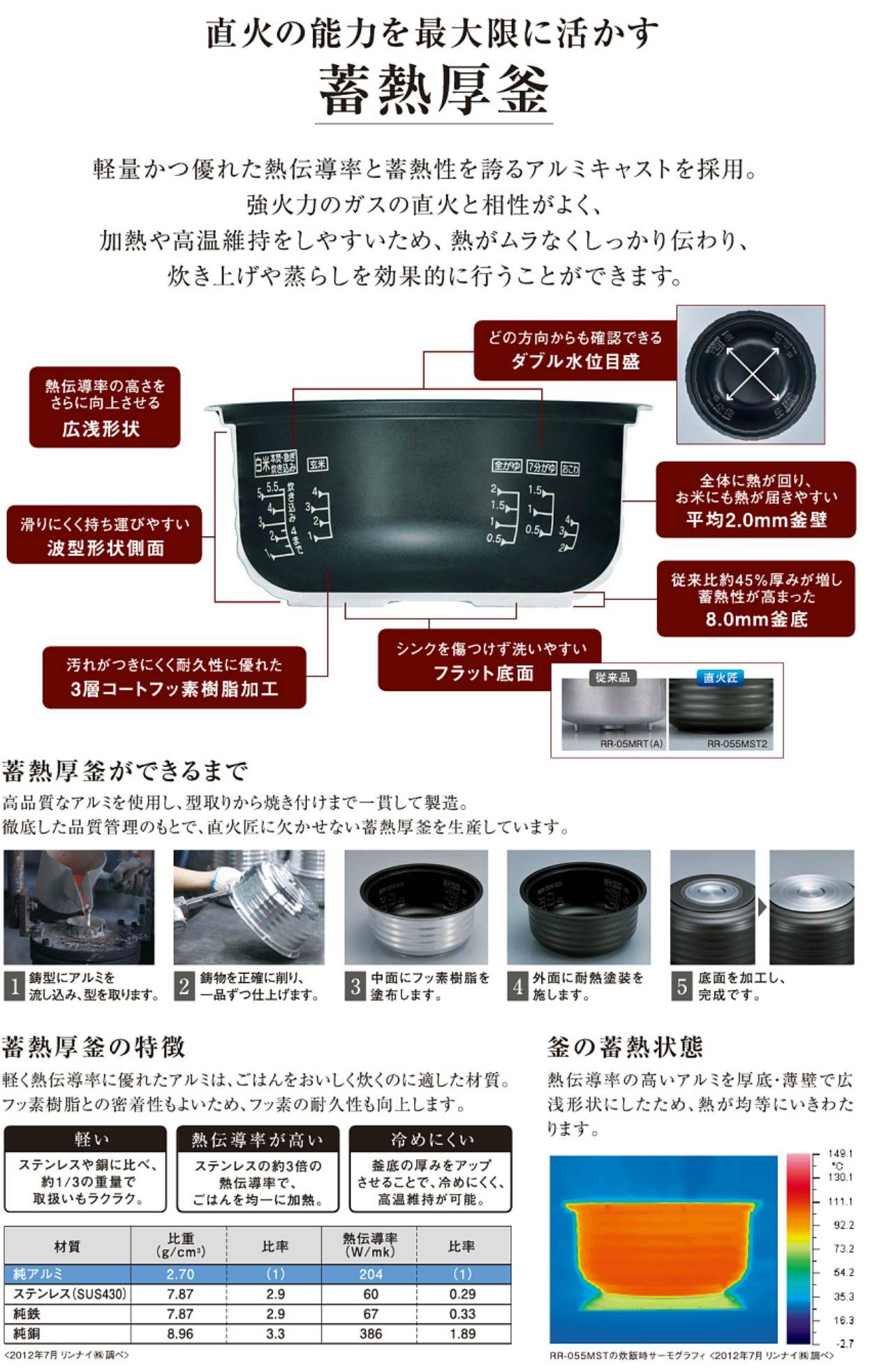RR-100MST2 直火匠ガス炊飯器